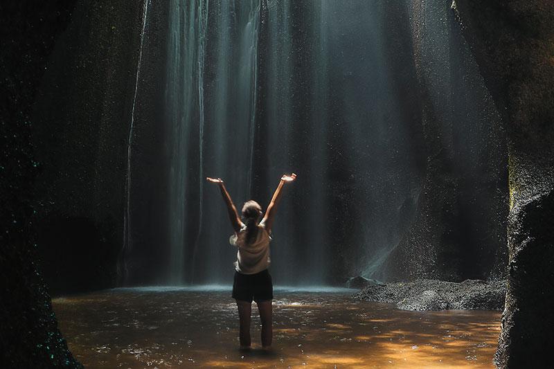 Bali cave waterfall