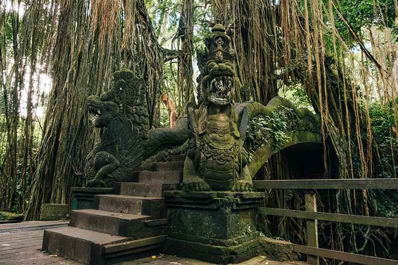 Bali stone dragons